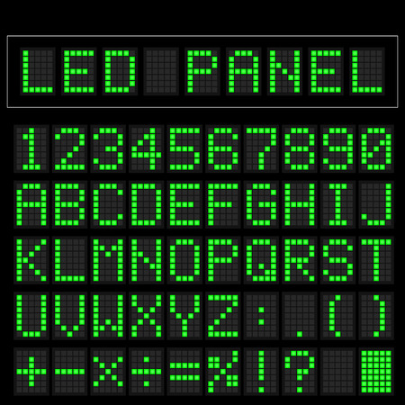 led: Green digital square led font display with sample panel Illustration