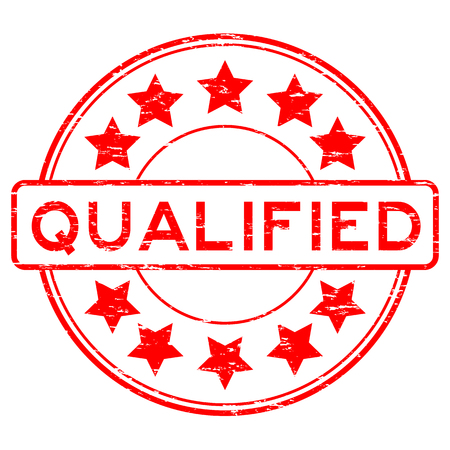 qualified: Grunge red round qualified with star rubber stamp Illustration