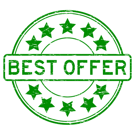 Grunge green round best offer rubber stamp