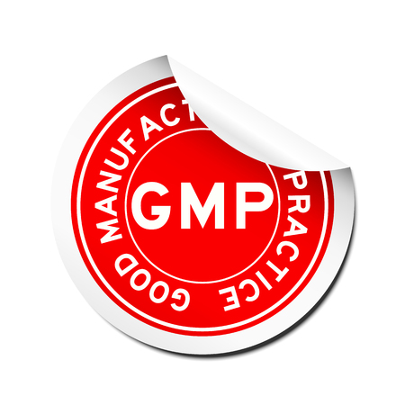 chemical peels: Peel red GMP (Good manufacturing practice) round sticker
