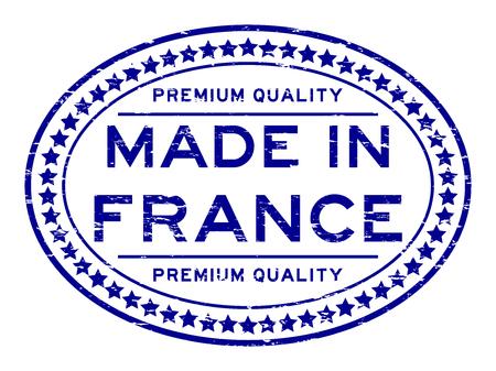 Grunge blue premium quality made in France rubber  stamp Illustration