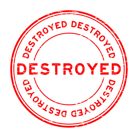 annihilate: Grunge red destroy round shape rubber stamp