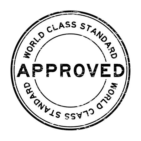 world class: Grunge black approved world class standard round rubber stamp Illustration