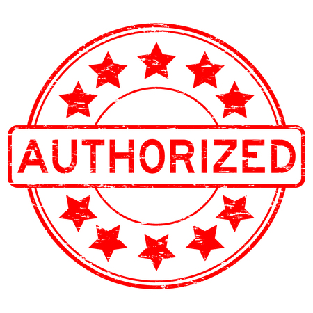accreditation: Grunge red authorized round shape rubber stamp