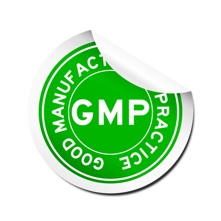 Peel green GMP (Good manufacturing practice) round sticker