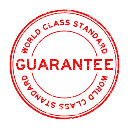 world class: Grunge red world class standard guarantee round rubber stamp