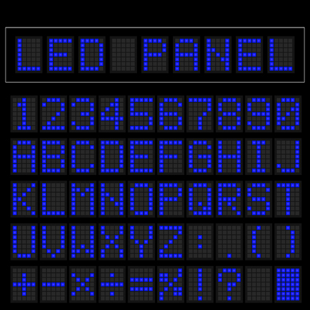 train table: Blue digital square led font display with sample panel
