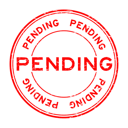 Grunge red pending round rubber stamp for business , decision purpose