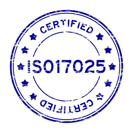 implement: Grunge blue ISO 17025 certified round rubber stamp Illustration