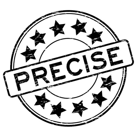 precise: Grunge black precise with star icon rubber stamp