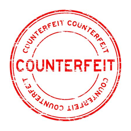 counterfeit: Grunge red counterfeit round rubber stamp for business purpose Illustration