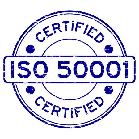 norm: Grunge blue ISO 50001 certified rubber stamp Illustration