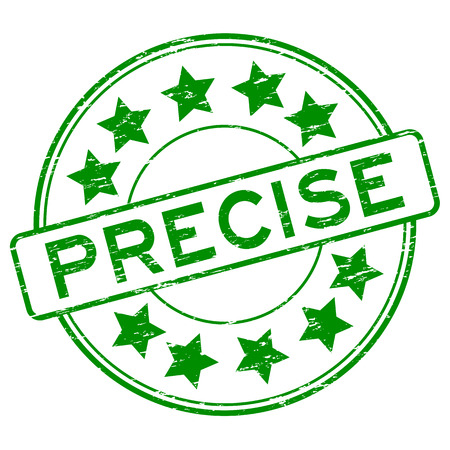 precise: Grunge green precise with star icon rubber stamp