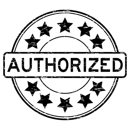 Grunge black authorized round shape rubber stamp 일러스트