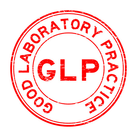 Grunge red GLP (Good Laboratory Practice) rubber stamp Çizim