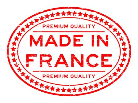 oval  alcohol: Grunge red premium quality made in France rubber stamp