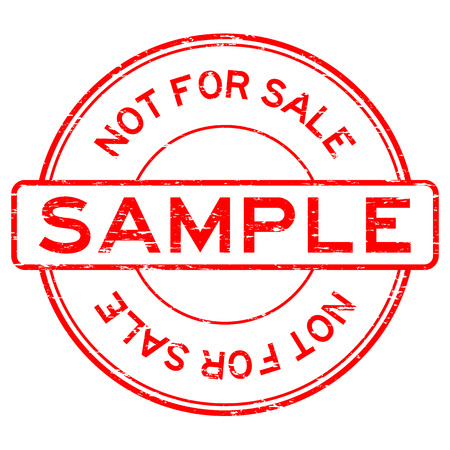 Grunge red round sample not for sale rubber stamp Vectores