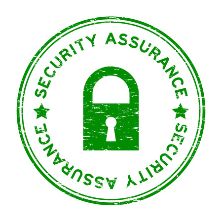 Grunge green security assurance with lock icon round rubber stamp Illusztráció
