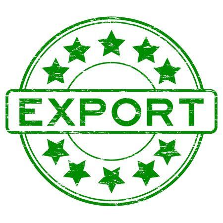 Grunge green export rubber stamp