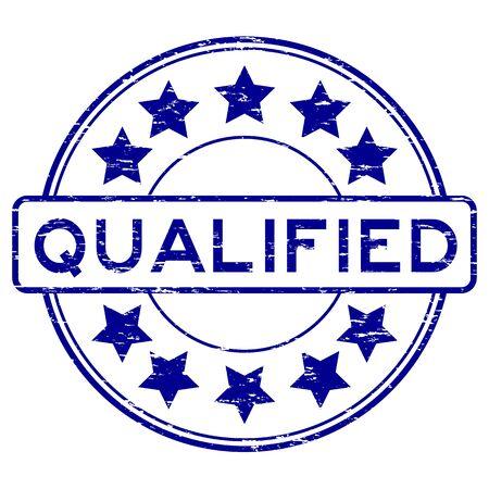 qualify: Grunge blue round qualified with star rubber stamp