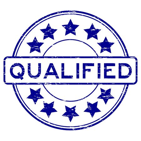 Grunge blue round qualified with star rubber stamp