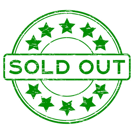 Grunge green round sold out with star rubber stamp