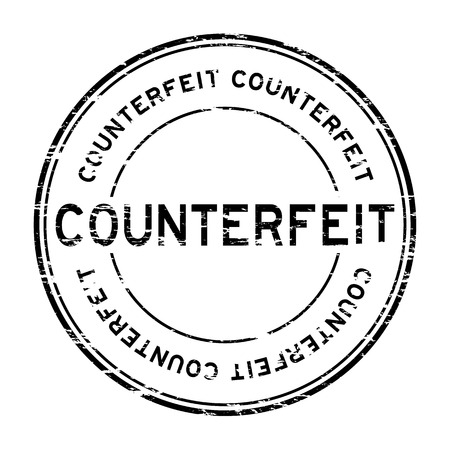 counterfeit: Grunge black counterfeit round rubber stamp for business purpose Illustration