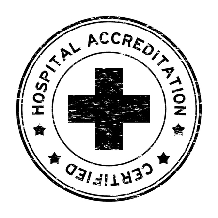 Grunge black hospital accreditation certified round rubber stamp