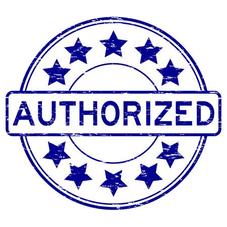 Grunge blue authorized round shape rubber stamp Illustration