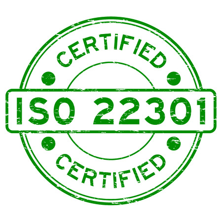 business continuity: Grunge green ISO 22301 certified round rubber stamp