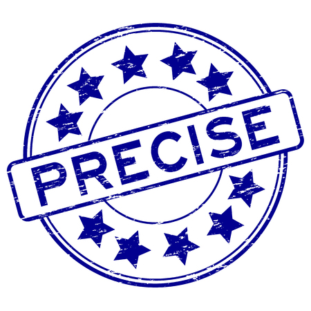 precise: Grunge blue precise with star icon rubber stamp