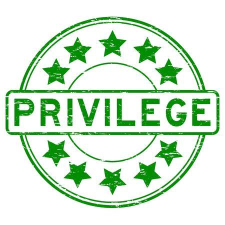 privilege: Grunge green privilege with star icon round rubber stamp