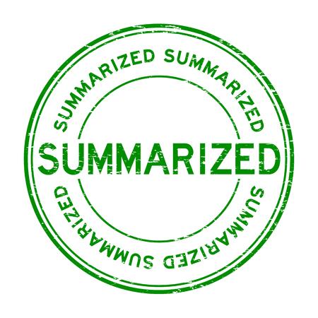 summarized: Grunge green summarized round rubber stamp Illustration