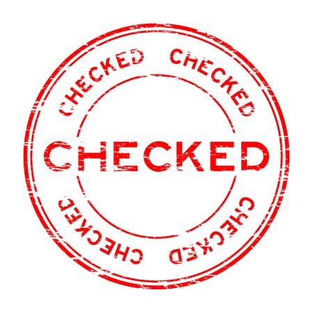Grunge red checked round rubber stamp Illustration