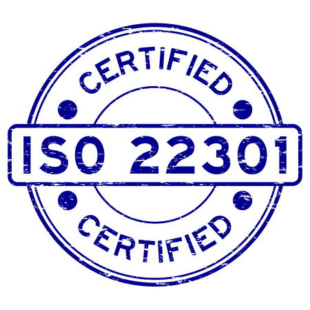 Grunge blue ISO 22301 certified round rubber stamp