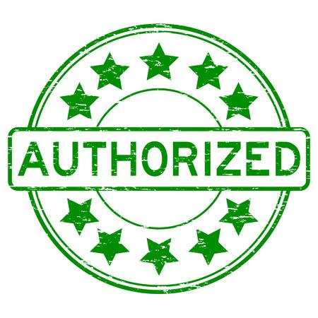authorise: Grunge green authorized round shape rubber stamp Illustration