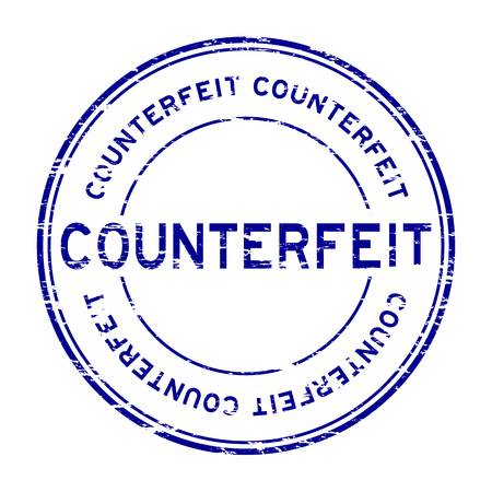 counterfeit: Grunge blue counterfeit round rubber stamp for business purpose