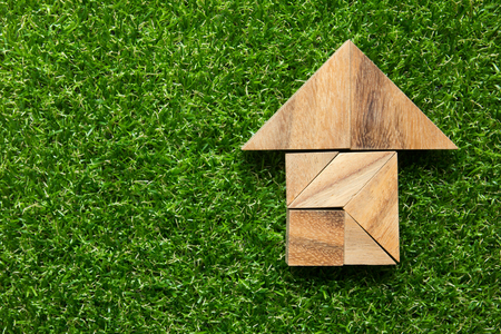 Tangram in home shape on green grass background