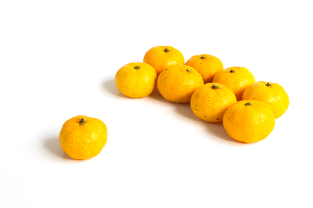 Group of mandarin orange (Citrus reticulata) on white background