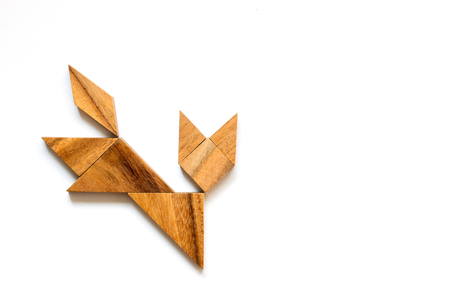 Wooden tangram as running cat shape on white background