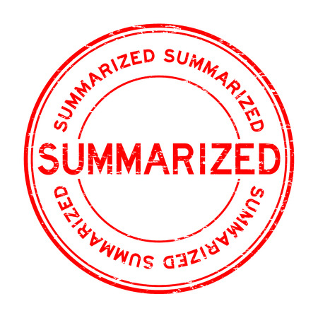 summarized: Grunge red summarized round rubber stamp Illustration