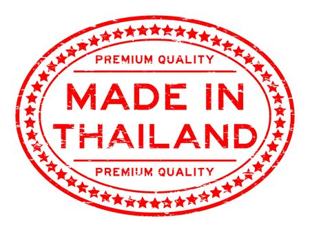 Grunge red premium quality made in Thailand oval rubber stamp Illustration