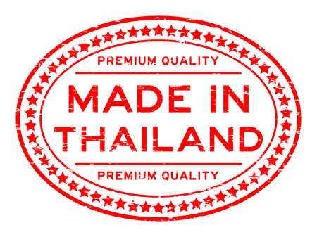 messaline: Grunge red premium quality made in Thailand oval rubber stamp Illustration