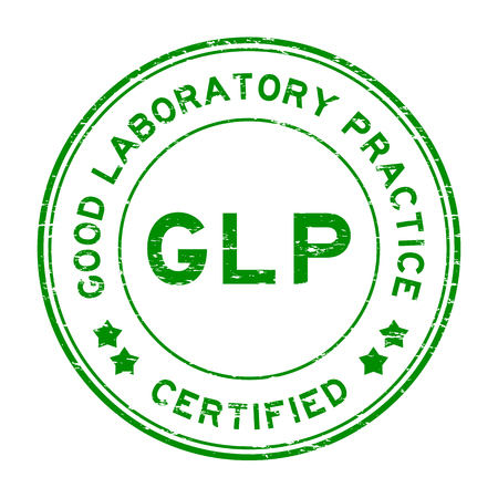 Grunge green GLP (Good Laboratory Practice) certified round rubber stamp