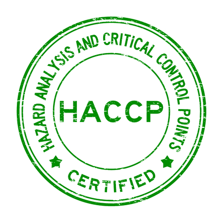 Grunge groene HACCP (Hazard Analysis Critical Control Points) gecertificeerd ronde rubber stamp Stock Illustratie