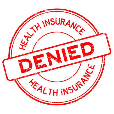 Grunge red health insurance denied round rubber stamp on white background Ilustrace