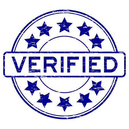 allowed to pass: Grunge blue verified with star icon round rubber stamp