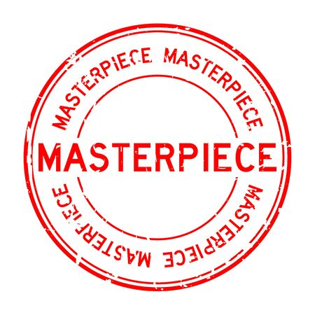 masterpiece: Grunge red masterpiece round rubber stamp on white background