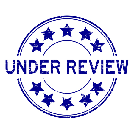 Grunge blue under review with star icon round rubber stamp