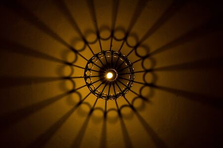 Abstract light and shade come from lightbulb and lantern